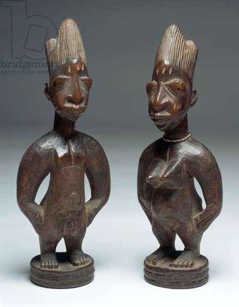 Ibeji Figures (wood, beads, cowrie shells, fabric, pigment)