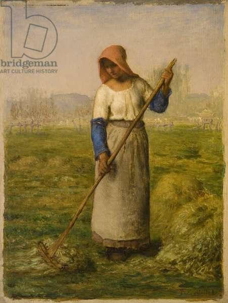 Peasant Woman Raking, c.1855-1860 (oil on panel)