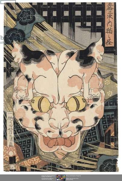 The Cat Demon on the Tokaido road (Tokaido neko no sei), c.1850 (woodblock print)