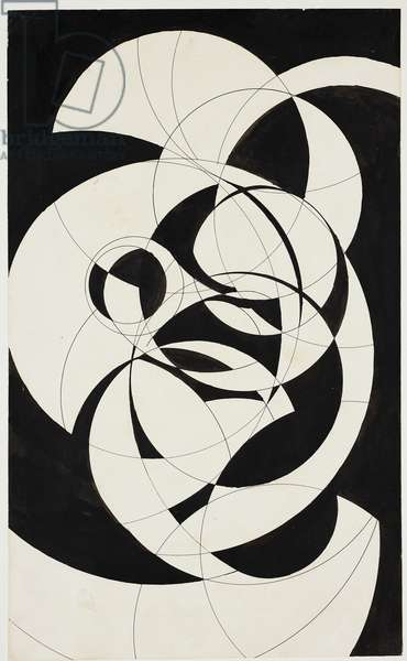 Compass Composition, c.1916 (pen & ink & black ink on medium weight soft, textured off-white paper)