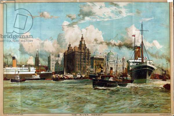 The River Mersey, from the series 'Western Gateway to the Empire', 1928 (colour litho)