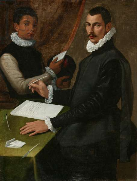 Portrait of an unknown man and his Servant, 1579 (oil on canvas)