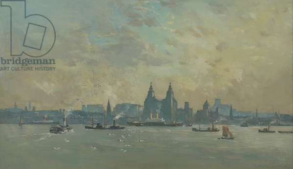Liverpool from the Mersey, 1938 (oil on canvas)