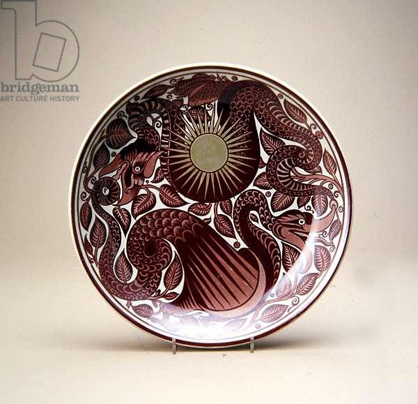 Dish, c.1880-85 (earthenware with lead glaze & coloured lustre overglaze)