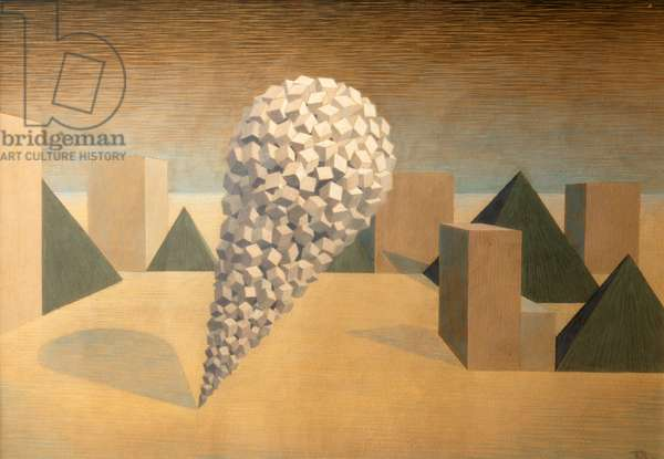 Black Pyramids, 1942 (tempera on hardboard)