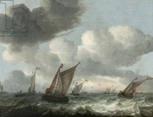 Fishing boats off the coast in a choppy sea (oil on panel)