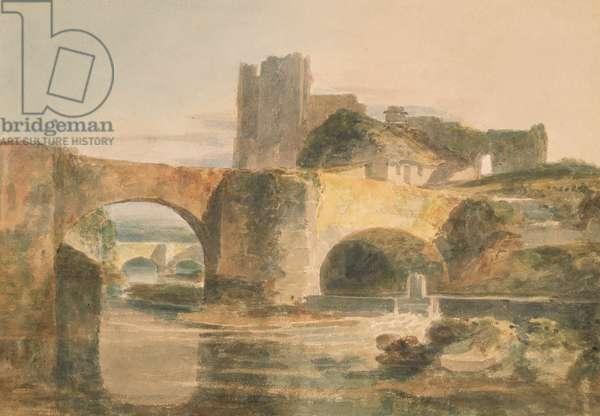 Brecon Bridge and Castle, c.1795 (w/c on paper)