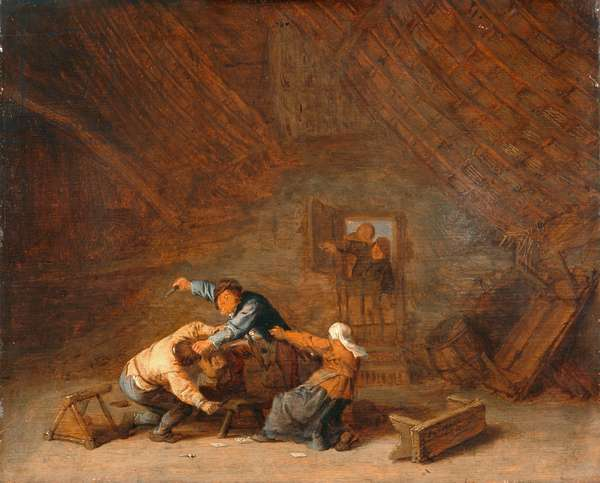 Interior of a barn with two peasants fighting, 1658 (oil on panel)