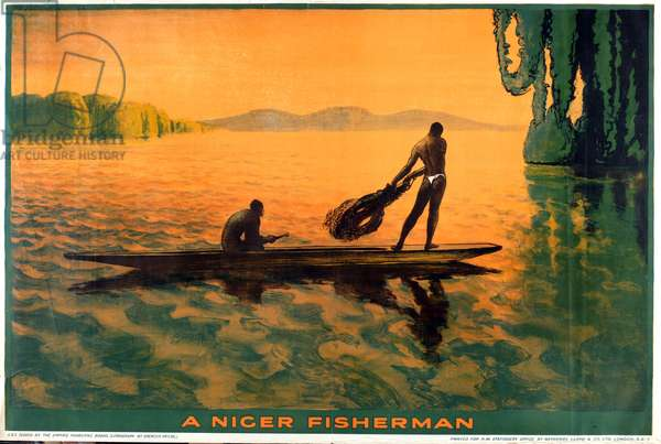 A Niger Fisherman (colour litho)