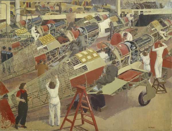 Assembling a Hawker Hurricane, c.1940-47 (oil on canvas)