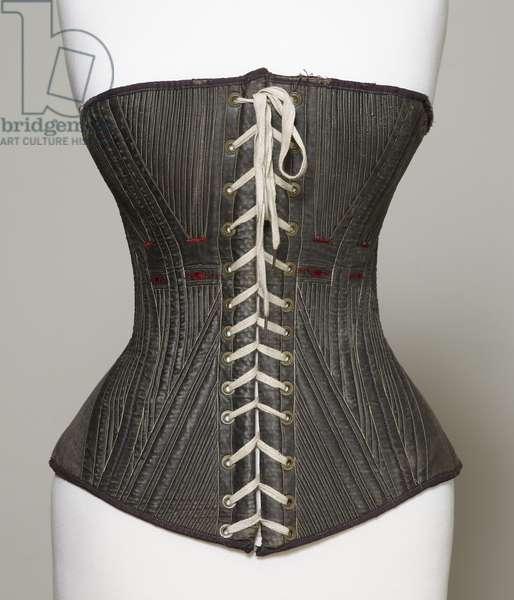 Corset (view A), 1840-50 (cotton, metal, leather & satin)