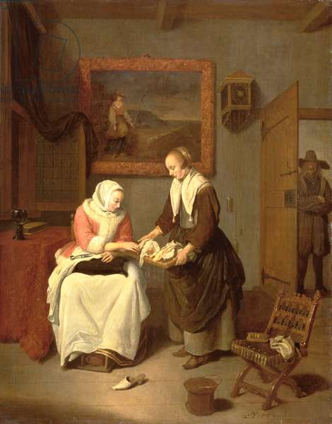 Interior with a Lady Choosing Fish, 1664 (oil on panel)