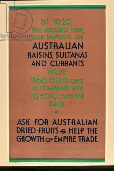 Australian Raisins, Sultanas and Currants (colour litho)