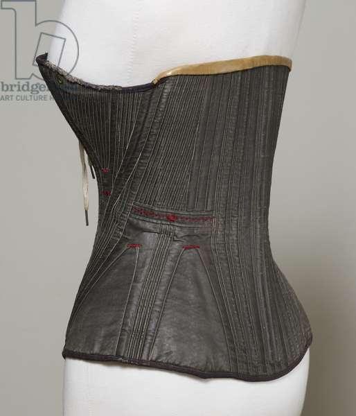 Corset (view D), 1840-50 (cotton, metal, leather & satin)