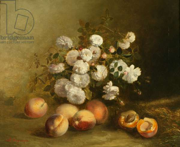 Flowers and Apricots (oil on canvas)