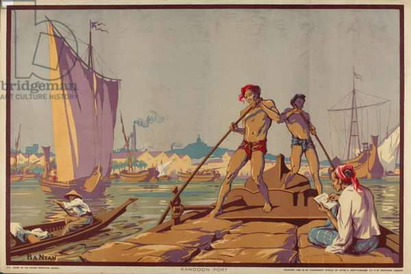 Rangoon Port, from the series 'Burma: A Land of Rich Resources', 1928 (colour litho)