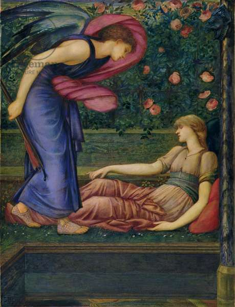 Cupid and Psyche, 1865-87 (w/c, bodycolour & gold paint on wove paper)