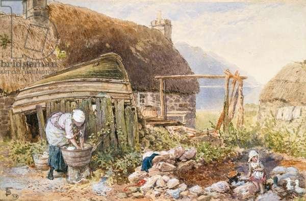 Washing Day at Balmarcara, c.1860 (w/c on paper)
