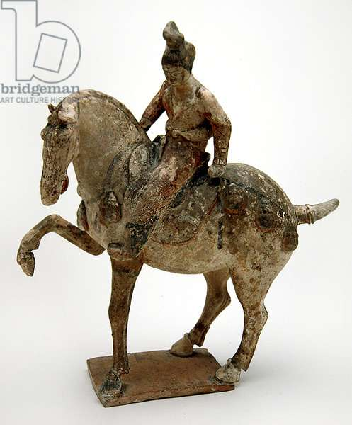 Tomb Figure and Horse, High T'ang Period, 750-51 (earthenware with unfired pigments)