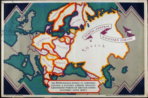 North, Central and Eastern Europe, from the series 'Where Our Exports Go', 1927 [6321242] (colour litho)