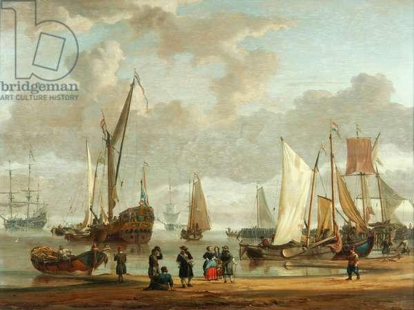 Coast scene (oil on panel)
