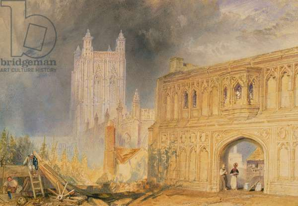 Malvern Abbey and Gate, Worcestershire, c.1830 (w/c on paper)