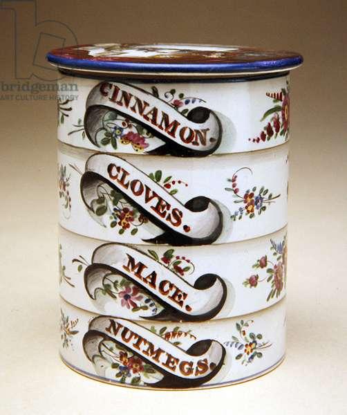 Spice Jar, 1830 (earthenware with pearlware glaze & overglaze enamels)