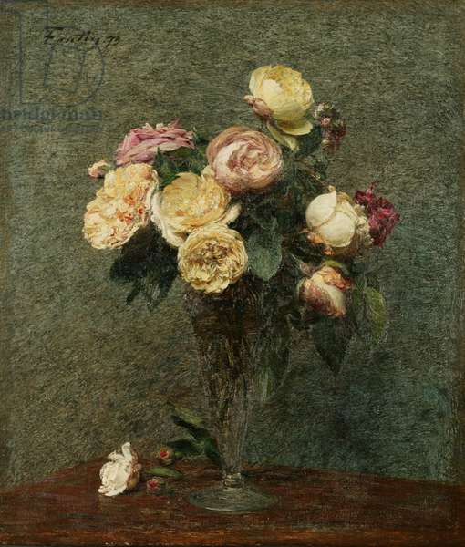 Still Life: Roses in a Glass Vase, 1879 (oil on canvas)
