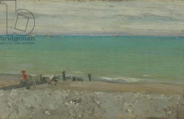 La Plage, Dieppe, c.1885 (oil on panel)