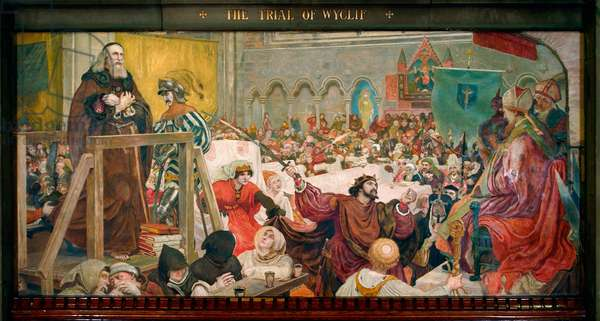 The Trial of Wyclif, 1886 (pigment, varnish, gum & wax on panel)
