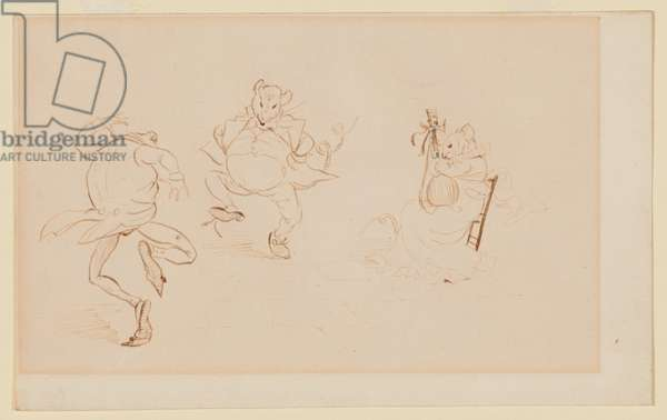 'But While They Were All Thus A Merry-Making'', Study For 'A Frog He Would A-Wooing Go', c.1875 (ink & w/c on paper)