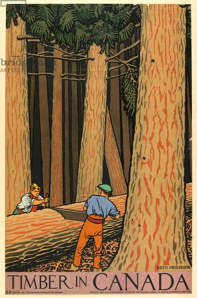 Timber in Canada (colour litho)