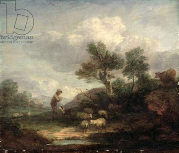 Landscape with Sheep (oil on canvas)