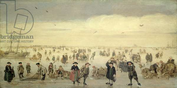Winter Scene with Numerous Figures on the Ice, c.1600-31 (oil on panel)
