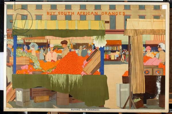 Buying the Oranges, from the series 'Summer's Oranges from South Africa' (colour litho)