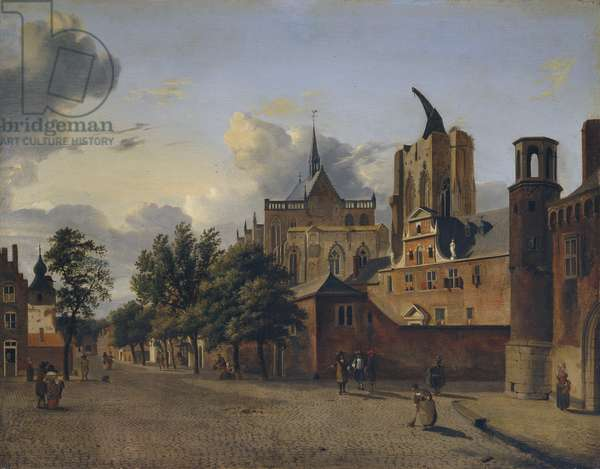 A street in Cologne with the unfinished cathedral in the centre, 1684 (oil on panel)