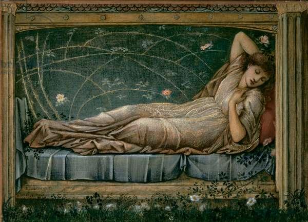 The Sleeping Beauty, 1871 (w/c, bodycolour & gold paint on vellum)