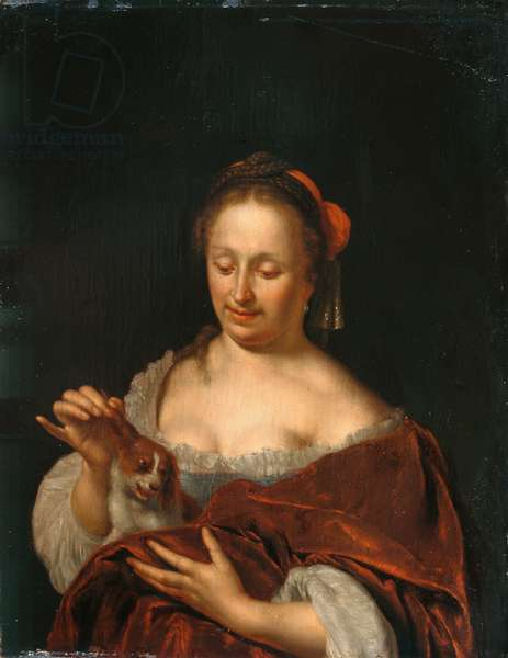 A Lady Seated holding a Small Dog (oil on panel)