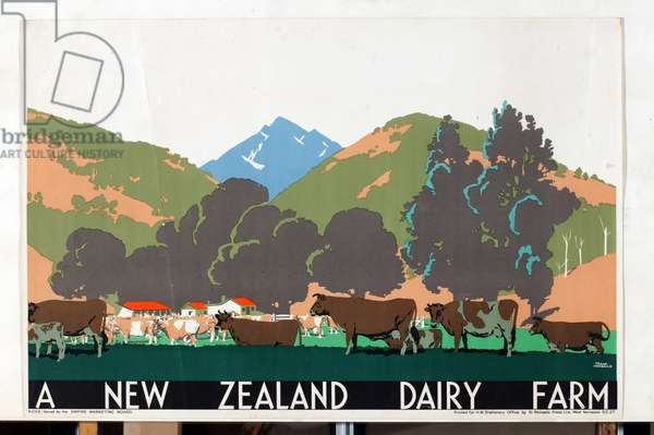 A New Zealand Dairy Farm, from the series 'Buy New Zealand Produce' (colour litho)