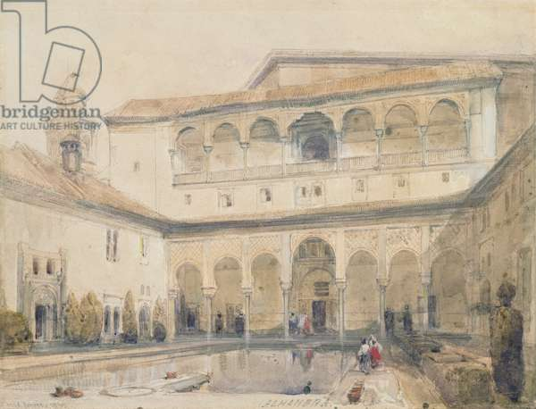 The Court of Myrtles, Alhambra (or Hall of Myrtles, Alhambra) 1833 (pencil & w/c on paper)
