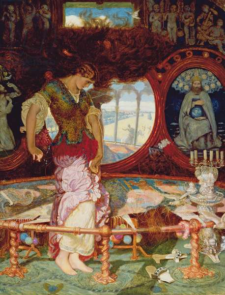 The Lady of Shalott, c.1886-1905 (oil on panel) (see also 495754)