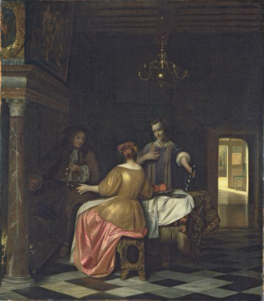 Interior with a Gentleman and Two Ladies Conversing, c.1668-70 (oil on canvas)