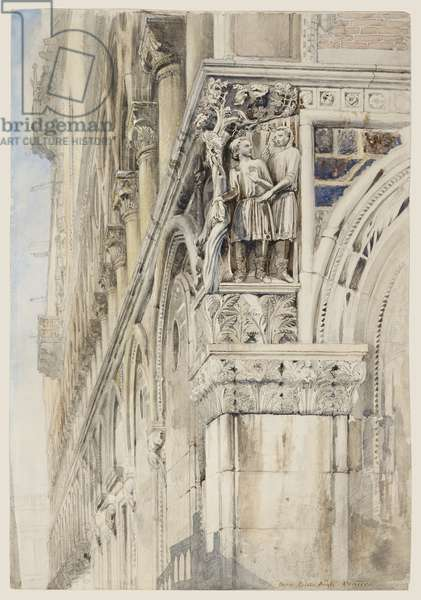 Facade of The Doge's Palace, Venice - The Vine Angle, c.1870 (w/c, ink & pencil on paper)