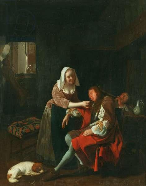 The Sleeping Cavalier, 1660-65 (oil on panel)