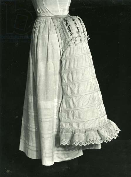 Wedding dress and bustle, 1884 (poplin, lace, cotton, silk & feathers)