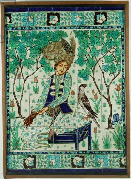 Persian falconer tile panel, Pilkington's Tiles Group Plc, c.1910 (slip-coated earthenware)