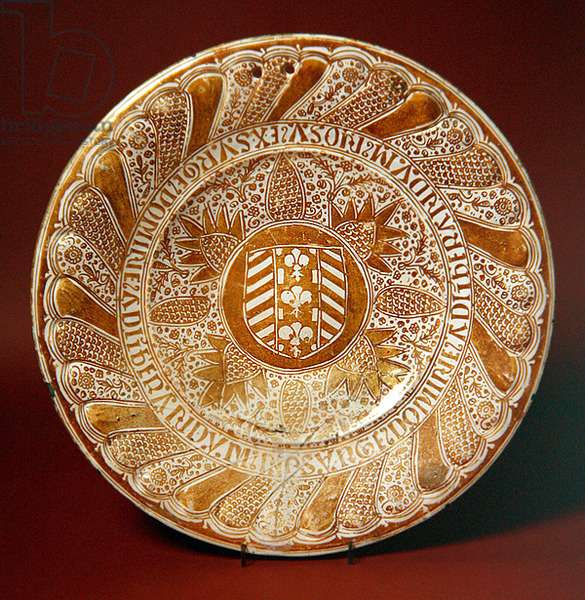 Dish, c.1500 (red earthenware with tin glaze & lustre overglaze)