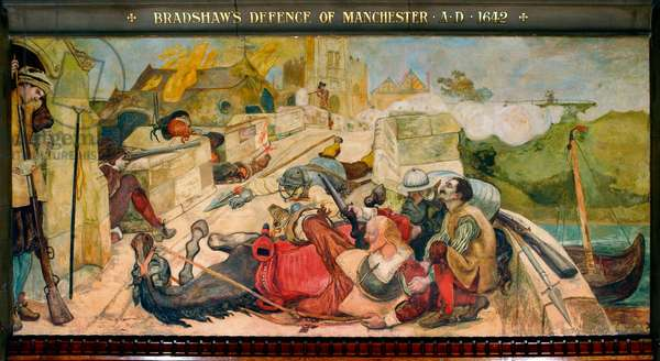 Bradshaw's Defence of Manchester AD 1642, 1893 (pigment, varnish, gum & wax on canvas)