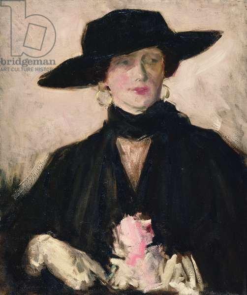 Lady in a Black Hat (oil on canvas)