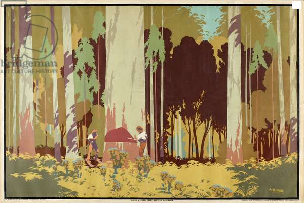 Felling a Karri Tree, Western Australia, from the series 'Australia's Wealth of Wheat and Wool', 1929 (colour litho)